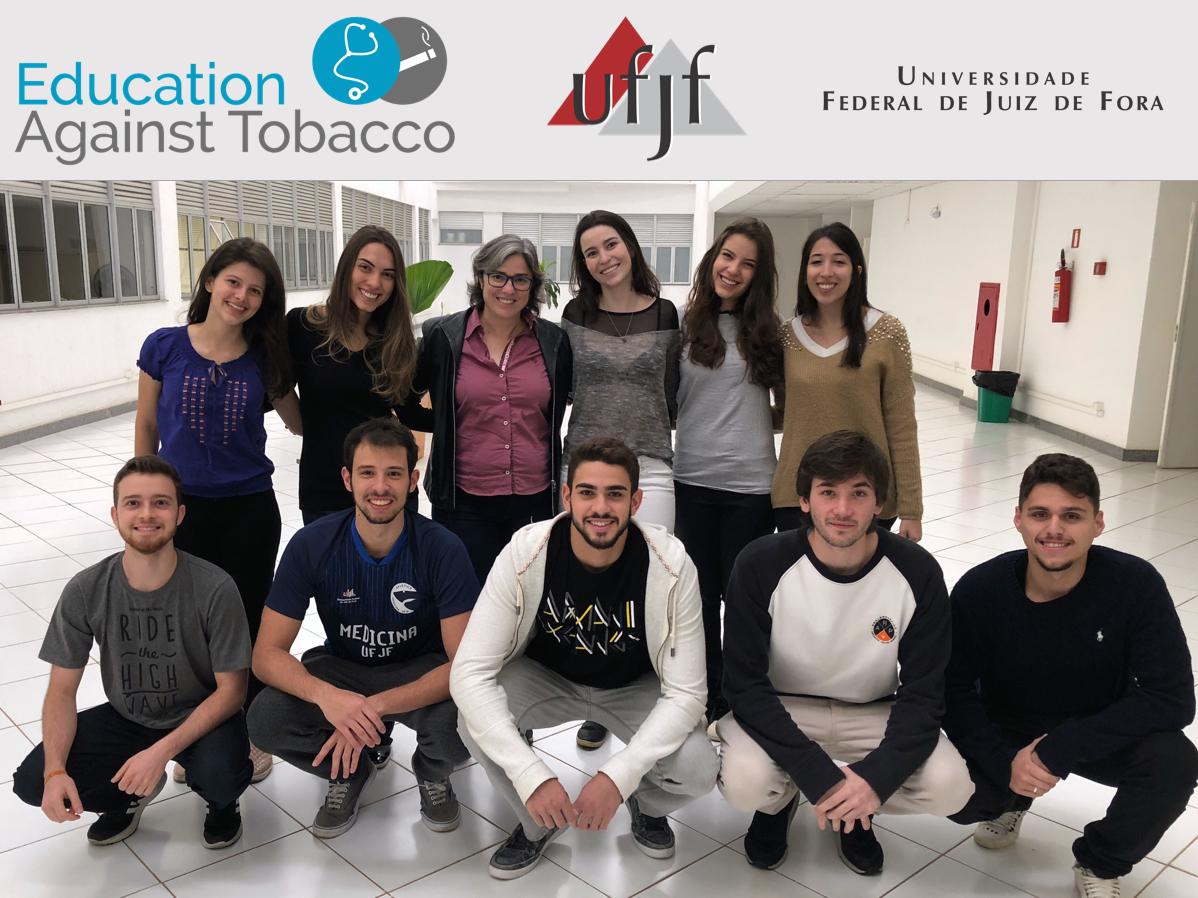 EAT team at UFJF School of Medicine, Brazil, 2018. Back row- Isabella, Lorena, Prof. Isabel, Luísa, Bárbara, Cintya; Front row- Hugo, Arthur, Otávio, Iago, Matheus.