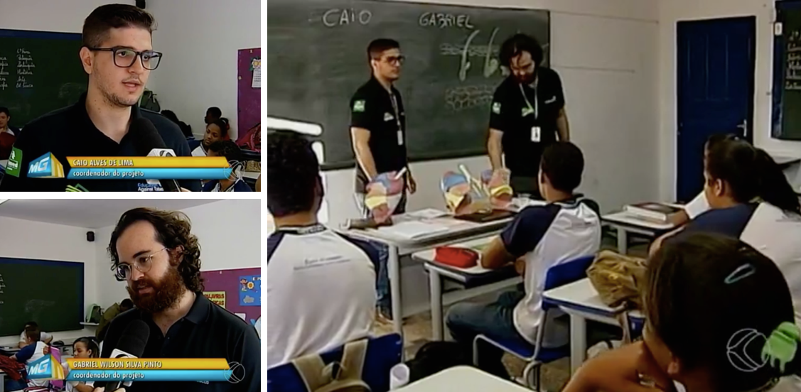 The biggest Brazilian television network interviews medical students Caio Alves and Gabriel Pinto during one of their EAT interventions in a secondary school.